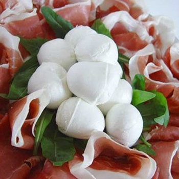 Parma raw ham with buffalo mozzarella from Campania